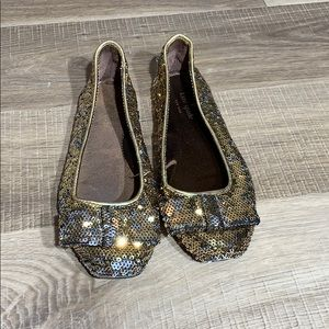 Kate Spade Gold Sequined Flats With Bows Sz6